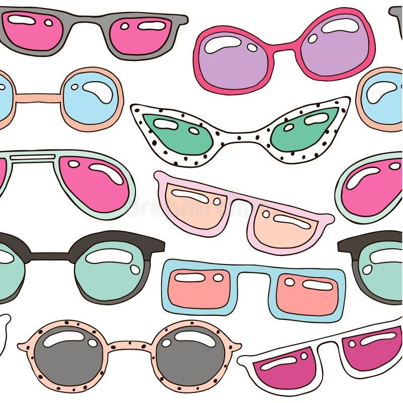 Modello senza cuciture con gli occhiali da sole disegnati a mano pastelli variopinti Struttura di estate di bellezza Consideri pe royalty illustrazione gratis