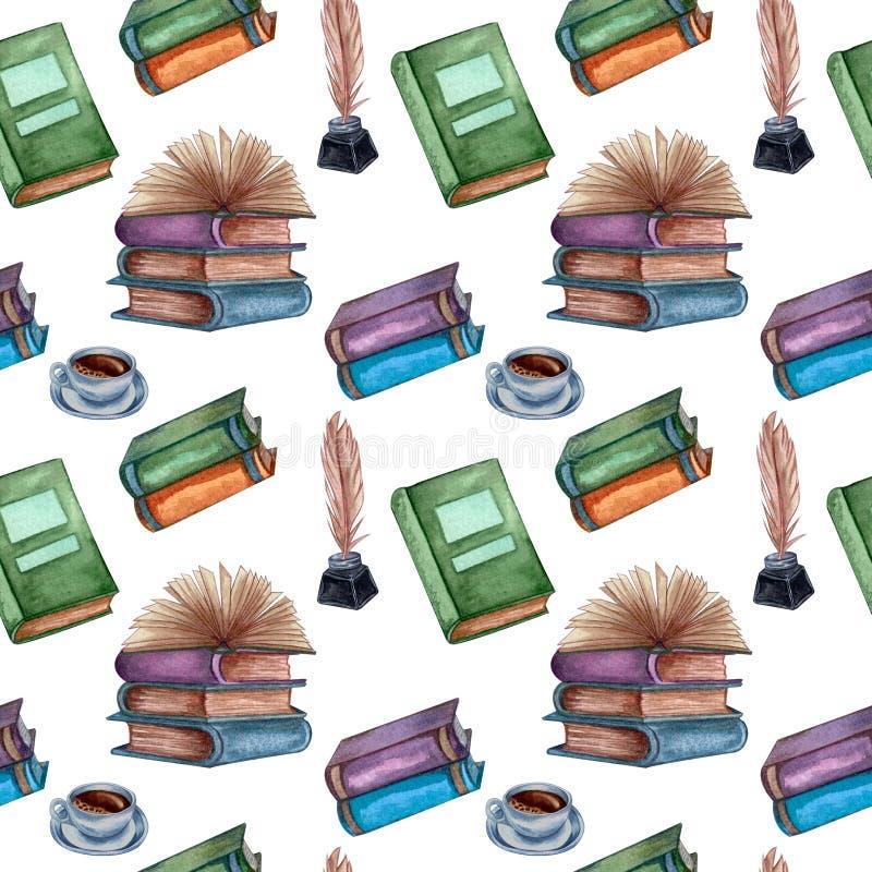 Modello senza cuciture con gli oggetti antichi Vecchi e libri rari insieme ai manufatti illustrazione di stock