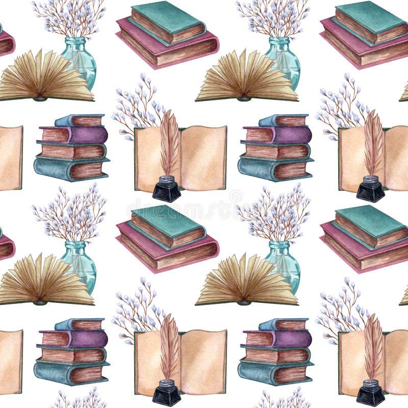 Modello senza cuciture con gli oggetti antichi Vecchi e libri rari insieme ai manufatti illustrazione vettoriale