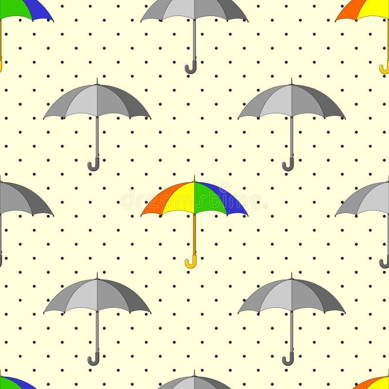 Modello senza cuciture con gli ombrelli grigi e variopinti e le gocce di pioggia illustrazione vettoriale