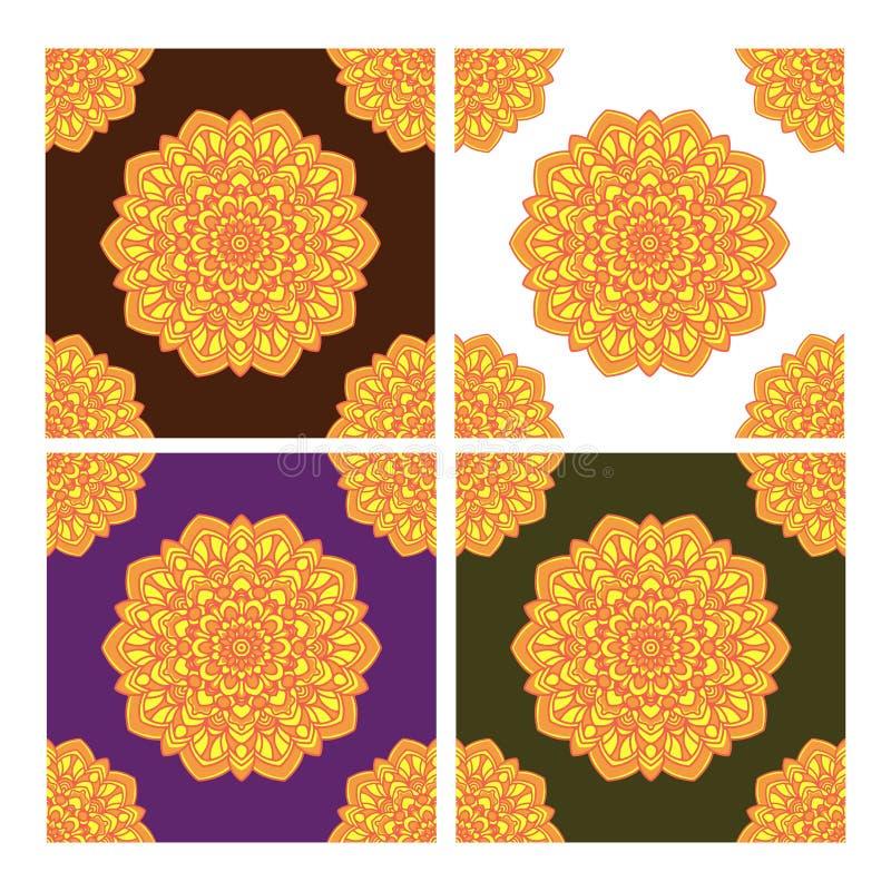 Modello senza cuciture con gli ornamenti di arte della mandala Mandala nello stile di arte araba illustrazione vettoriale