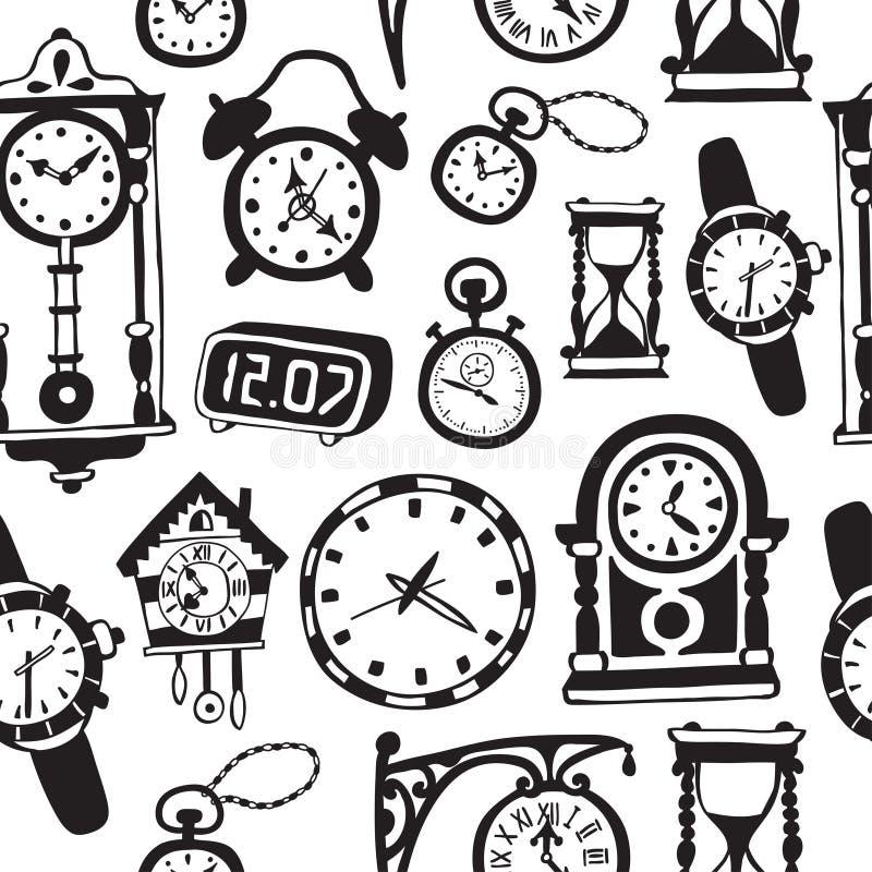 Modello senza cuciture con gli orologi e gli orologi di scarabocchio illustrazione vettoriale