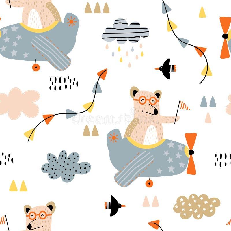 Modello senza cuciture con gli orsi in aeroplani royalty illustrazione gratis