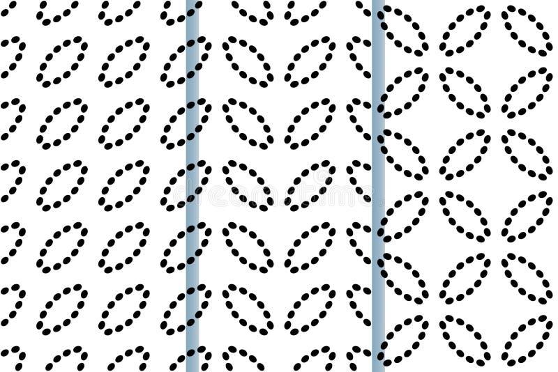 Modello senza cuciture con gli ovali delle linee punteggiate Fondo di vettore in bianco e nero Metta di 3 modelli senza cuciture illustrazione vettoriale
