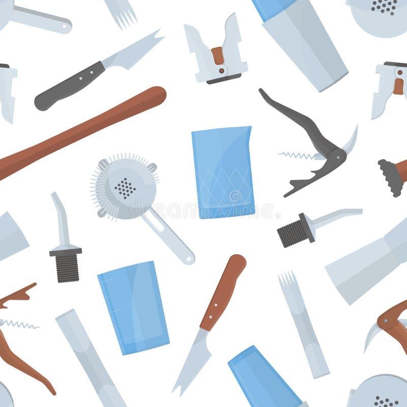 Modello senza cuciture con gli strumenti del barista s su fondo bianco Contesto con l'attrezzatura della barra per servire alcoli illustrazione vettoriale