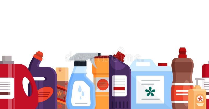 Modello senza cuciture con gli strumenti, il detersivo ed i prodotti di pulizia del disinfettante, attrezzatura di famiglia per l illustrazione di stock