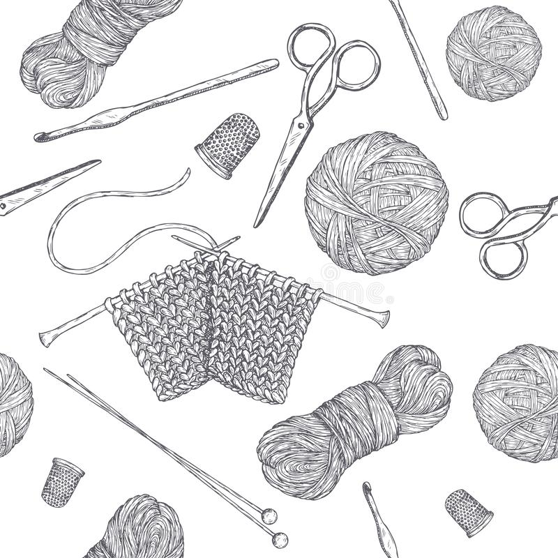 Modello senza cuciture con gli strumenti tricottare d'annata A disposizione schizzo disegnato basato Serie della classe di hobby illustrazione vettoriale