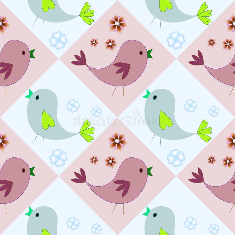 Modello senza cuciture con gli uccelli blu e marroni Priorità bassa felice Pasqua felice fotografie stock libere da diritti