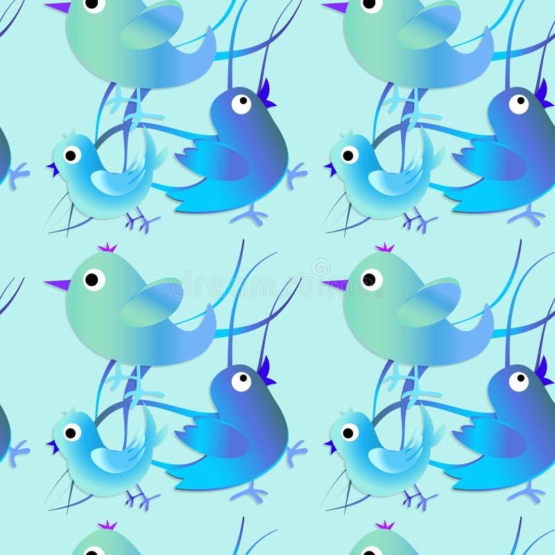 Modello senza cuciture con gli uccelli blu e verdi Priorità bassa felice Pasqua felice fotografia stock