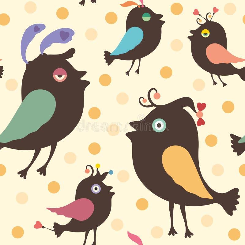 Modello senza cuciture con gli uccelli felici illustrazione di stock