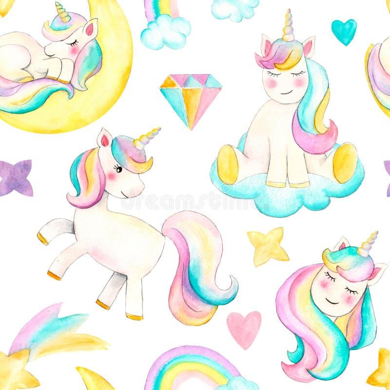 Modello senza cuciture con gli unicorni Bella illustrazione dell'unicorno dell'acquerello Cavallo d'avanguardia magico del fumett illustrazione di stock