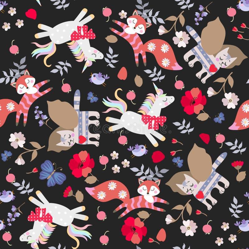 Modello senza cuciture con gli unicorni divertenti di favola, gatti alati e volpi, fiori, foglie, uccelli cornuti e farfalle isol illustrazione vettoriale