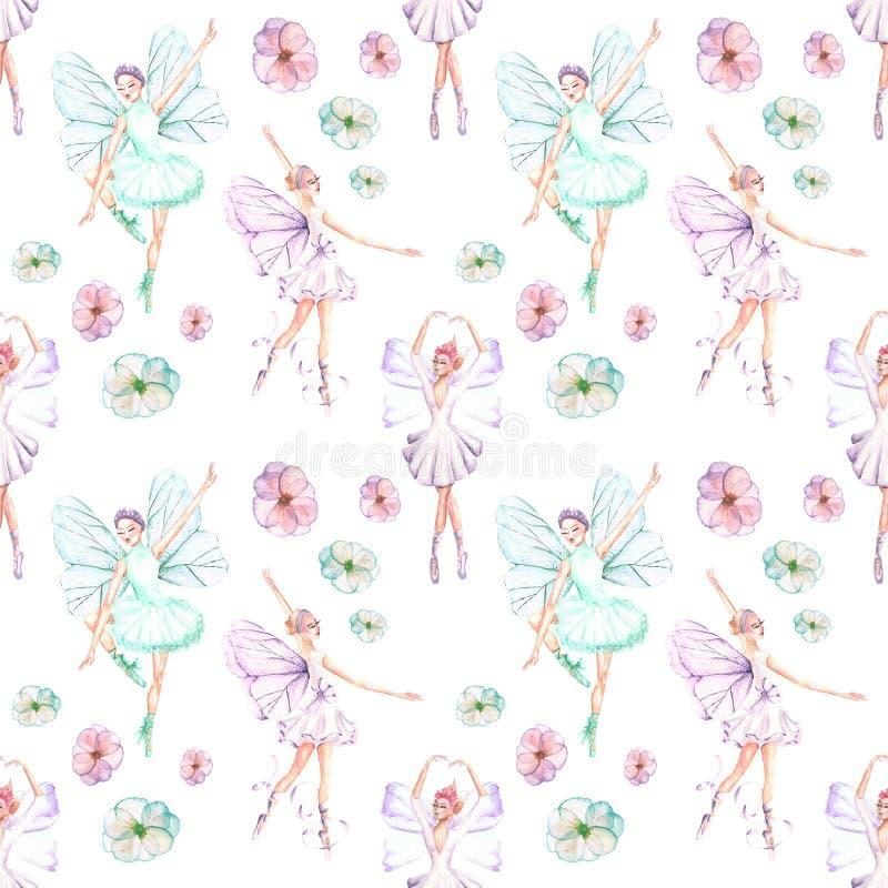 Modello senza cuciture con i ballerini di balletto dell'acquerello con le ali ed i fiori della farfalla royalty illustrazione gratis