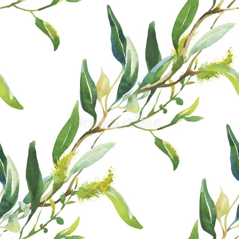 Modello senza cuciture con i bei fiori, pittura dell'acquerello illustrazione vettoriale