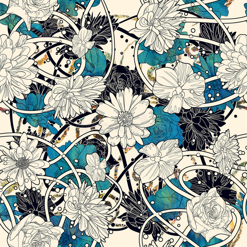 Modello senza cuciture con i bei fiori su fondo bianco illustrazione vettoriale
