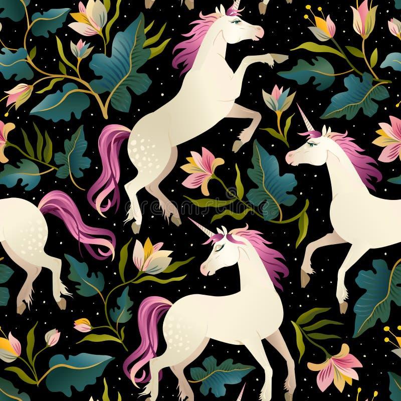 Modello senza cuciture con i bei unicorni Fondo magico di vettore per progettazione dei bambini royalty illustrazione gratis