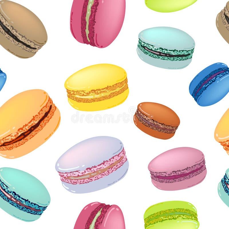 Modello senza cuciture con i biscotti variopinti del maccherone illustrazione di stock