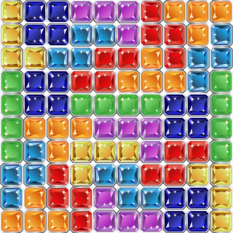 Modello senza cuciture con i blocchetti del mosaico delle mattonelle dei gioielli illustrazione vettoriale