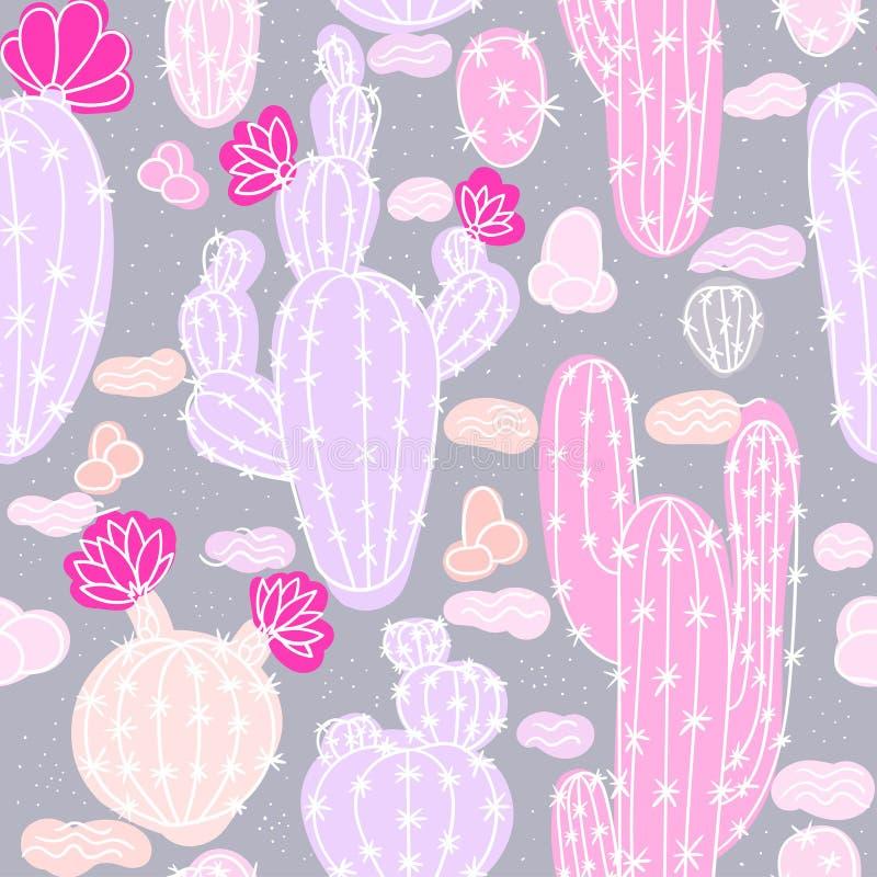 Modello senza cuciture con i cactus royalty illustrazione gratis