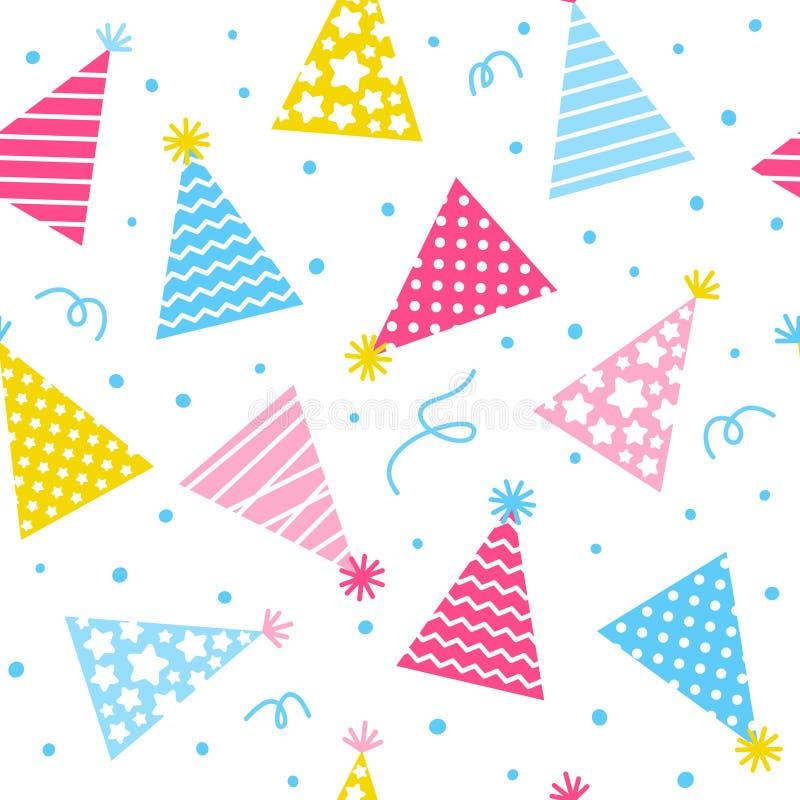 Modello senza cuciture con i cappucci di compleanno su fondo bianco illustrazione vettoriale