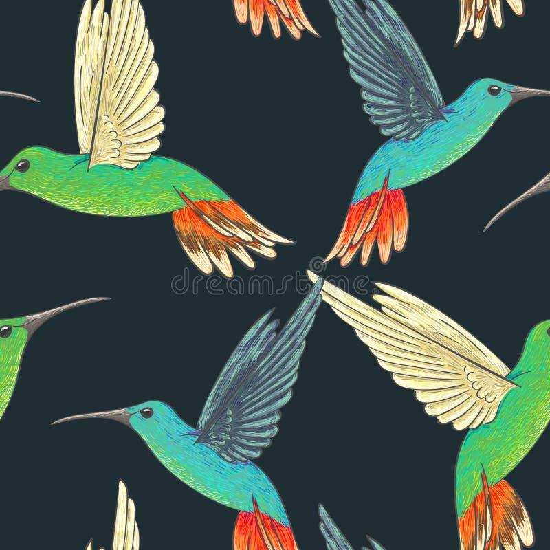 Modello senza cuciture con i colibrì royalty illustrazione gratis