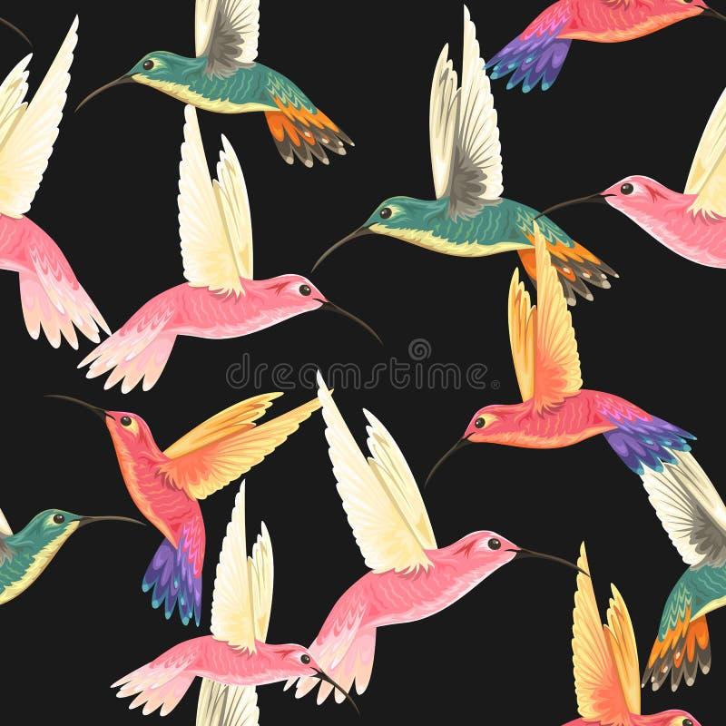 Modello senza cuciture con i colibrì illustrazione di stock