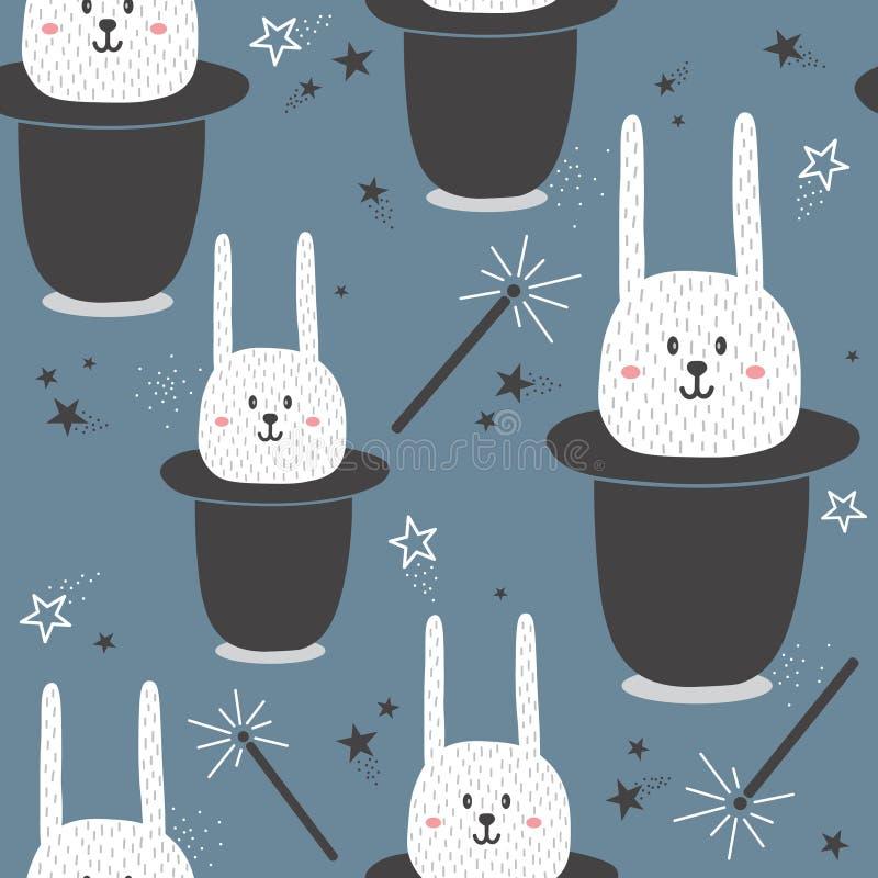 Modello senza cuciture con i conigli in cappelli, bacchette magiche, stelle illustrazione vettoriale