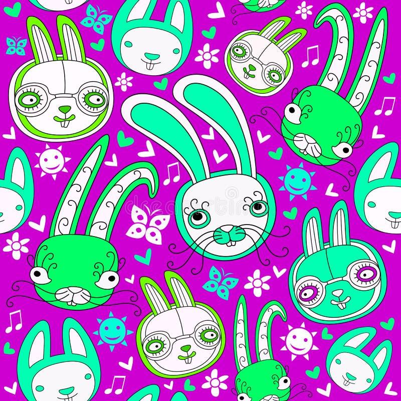 Modello senza cuciture con i conigli di scarabocchio illustrazione vettoriale