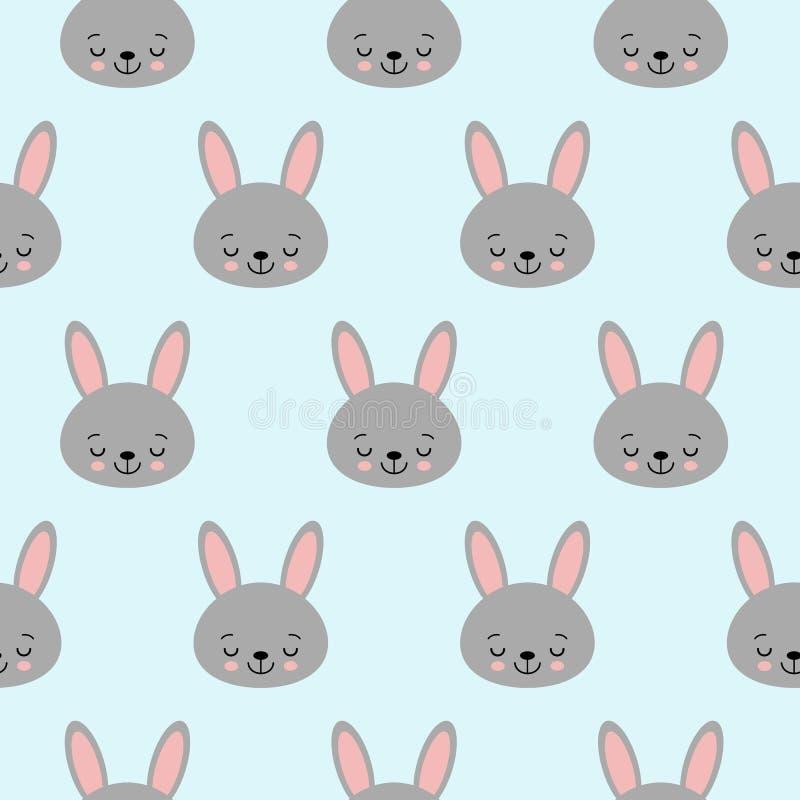 Modello senza cuciture con i coniglietti del fumetto per i bambini Stampa di astrattismo Priorit? bassa con gli animali svegli Il royalty illustrazione gratis