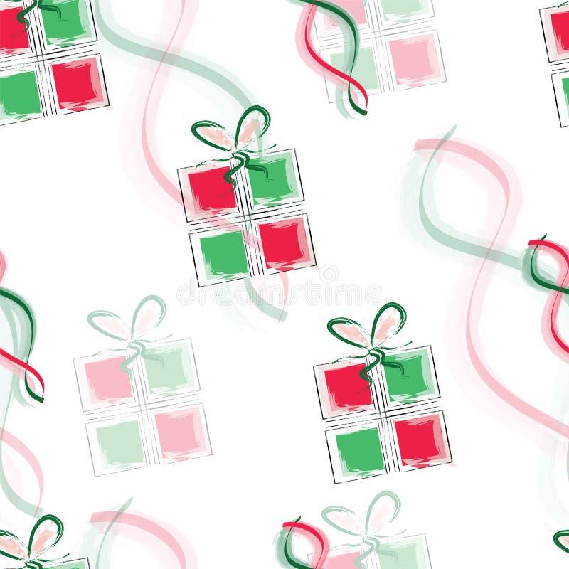 Modello senza cuciture con i contenitori di regalo nel vettore di colori rossi e verdi royalty illustrazione gratis