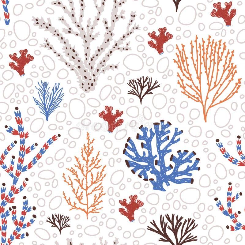 Modello senza cuciture con i coralli blu e rossi, l'alga o le alghe Contesto con le specie del mare, la flora dell'oceano e la fa royalty illustrazione gratis