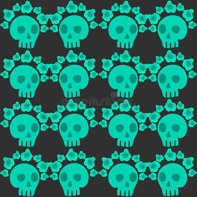 Modello senza cuciture con i crani e le rose Giorno messicano dei morti royalty illustrazione gratis