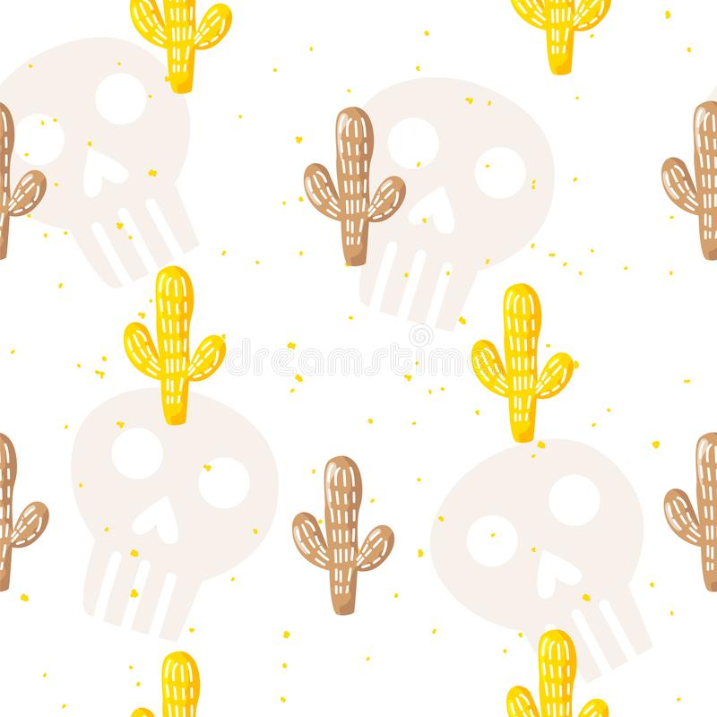 Modello senza cuciture con i crani ed i cactus del fumetto su fondo bianco Ornamento per il tessuto ed avvolgersi Vettore royalty illustrazione gratis