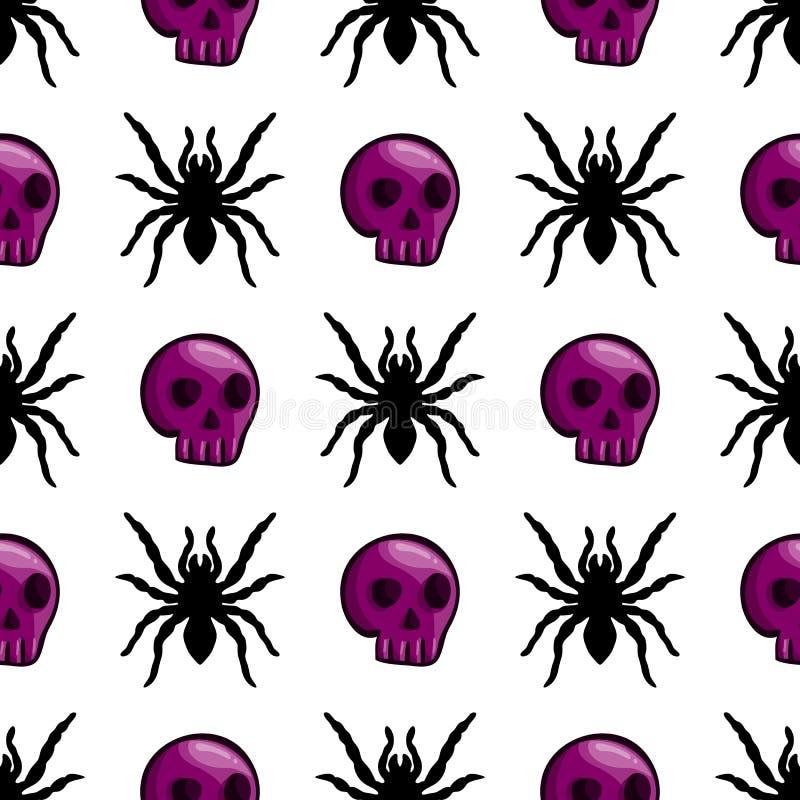 Modello senza cuciture con i crani ed il ragno di colore illustrazione di stock