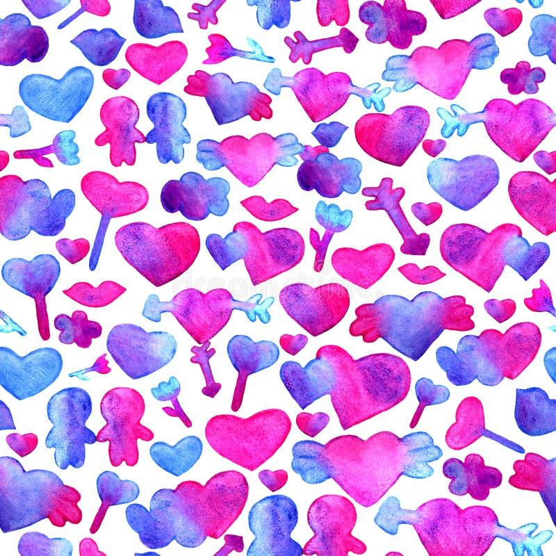 Modello senza cuciture con i cuori blu e rosa dell'acquerello freccia, labbra, progettazione romantica della gente Isolato su pri illustrazione vettoriale