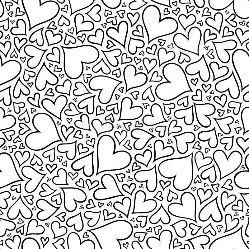 Modello senza cuciture con i cuori monocromatici disegnati a mano nello zentangle royalty illustrazione gratis