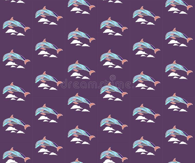 Modello senza cuciture con i delfini e le onde fotografie stock libere da diritti