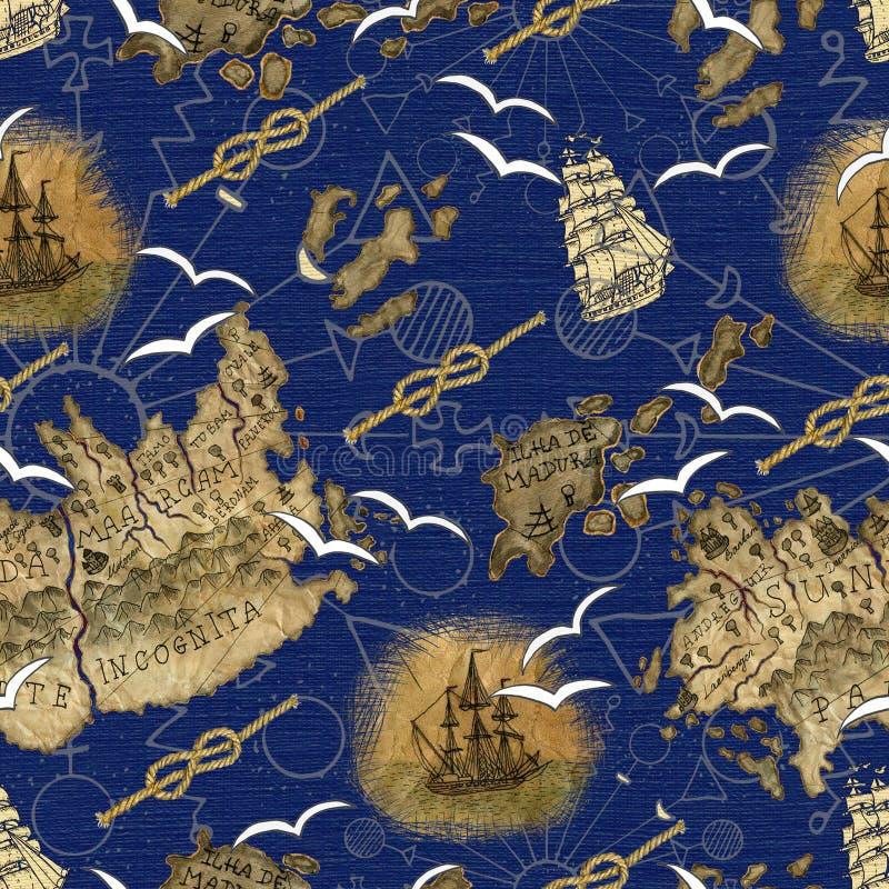 Modello senza cuciture con i dettagli e la nave della mappa del pirata royalty illustrazione gratis