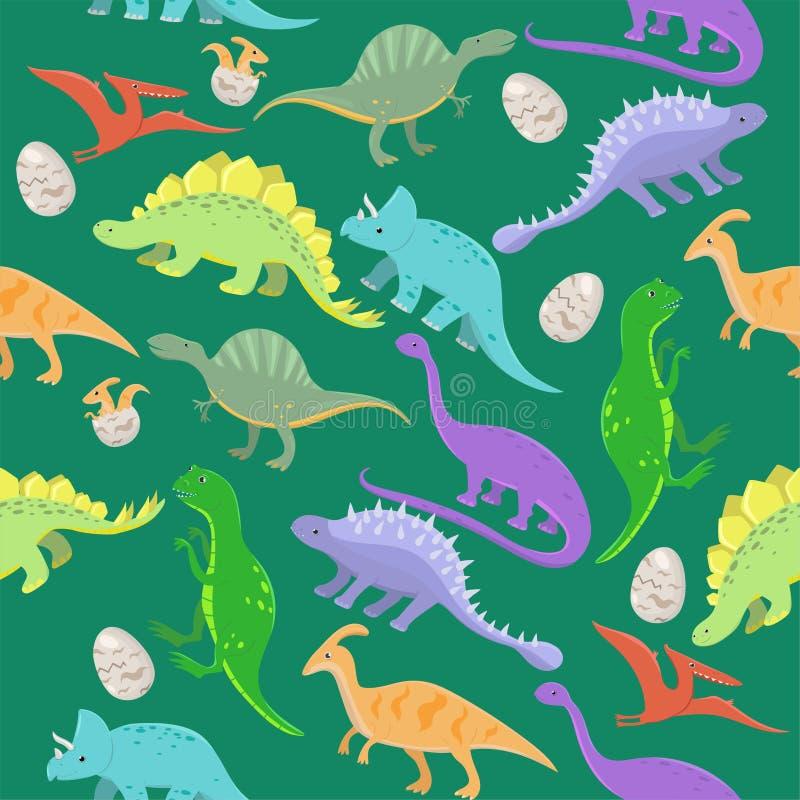 Modello senza cuciture con i dinosauri del fumetto Illustrazione di vettore illustrazione vettoriale