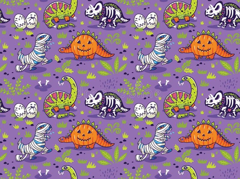 Modello senza cuciture con i dinosauri del fumetto nei vestiti di Halloween illustrazione vettoriale