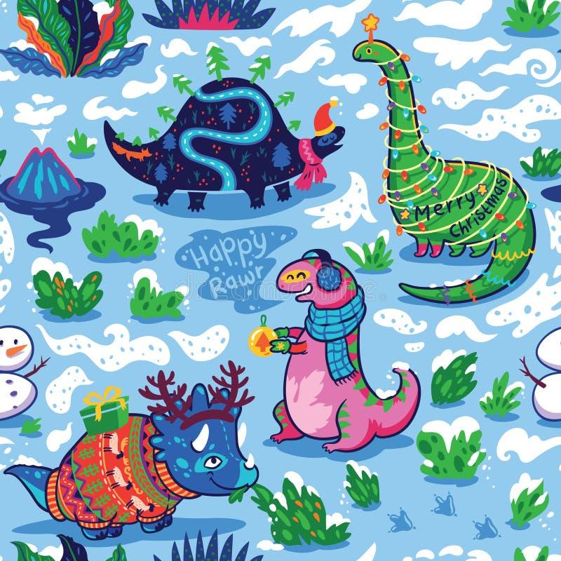 Modello senza cuciture con i dinosauri divertenti svegli di festa in maglioni, cappelli e sciarpe royalty illustrazione gratis