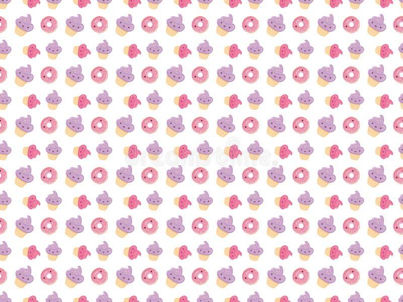 Modello senza cuciture con i dolci - guarnizioni di gomma piuma, bigné isolati su fondo bianco illustrazione di stock