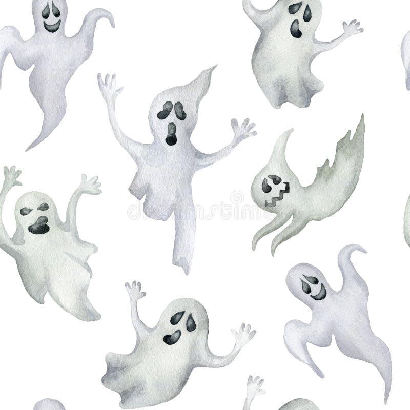 Modello senza cuciture con i fantasmi di Halloween su fondo bianco Mano immagine stock libera da diritti