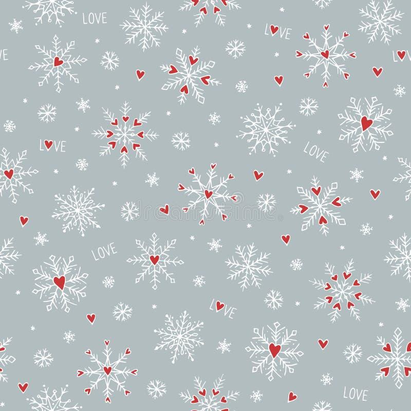 Modello senza cuciture con i fiocchi di neve disegnati a mano svegli ed i piccoli cuori rossi illustrazione vettoriale