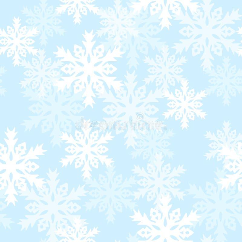 Modello senza cuciture con con i fiocchi di neve Fondo per lo spostamento di regalo Tessuto della decorazione Progettazione della illustrazione di stock