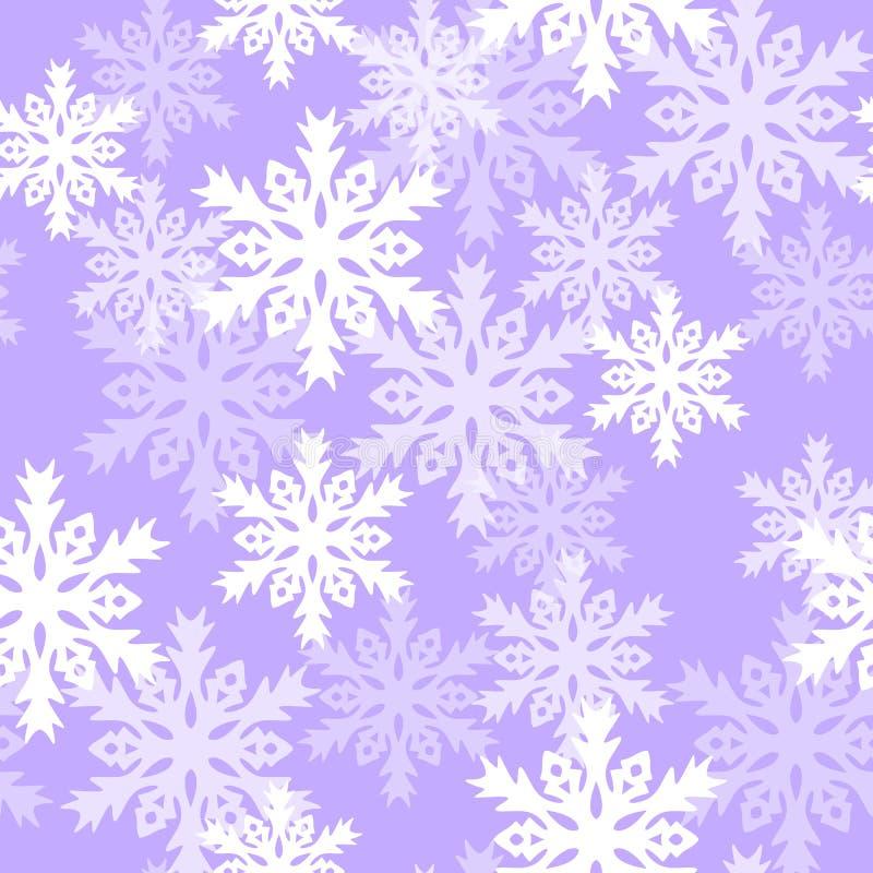 Modello senza cuciture con con i fiocchi di neve Fondo per lo spostamento di regalo Tessuto della decorazione Progettazione della royalty illustrazione gratis