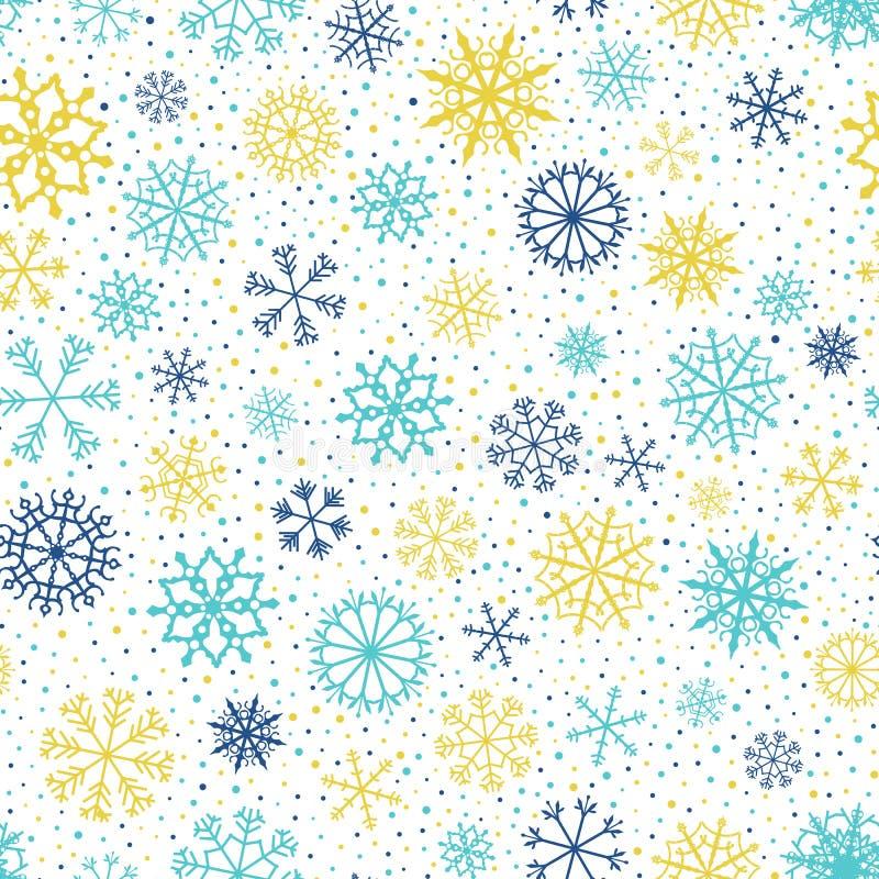 Modello senza cuciture con i fiocchi di neve per l'inverno e gli ambiti di provenienza di Natale royalty illustrazione gratis
