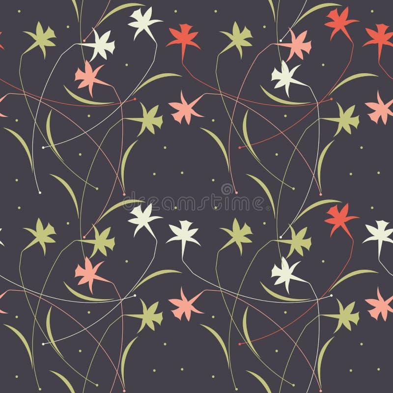 Modello senza cuciture con i fiori bianchi eleganti e le foglie isolati illustrazione vettoriale