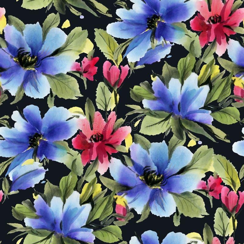 Modello senza cuciture con i fiori blu e rossi dell'acquerello su fondo nero illustrazione vettoriale