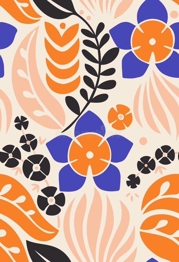 Modello senza cuciture con i fiori decorativi creativi nello stile scandinavo Stile nordico Grande per tessuto, avvolgentesi, tes illustrazione vettoriale